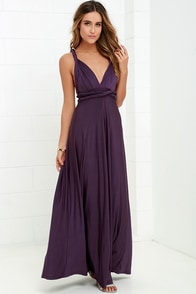 Always Stunning Convertible Purple Maxi Dress