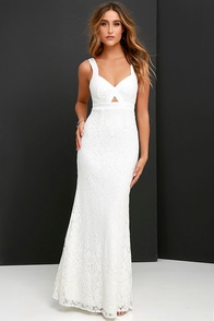 What a Doll Ivory Lace Maxi Dress at Lulus.com!