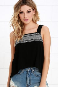image Ancient Dialect Black Embroidered Crop Top