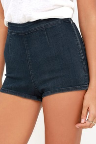 Amuse Society Vice Dark Wash High-Waisted Denim Shorts at Lulus.com!