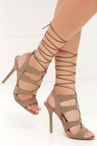 Heartbreaker Taupe Lace-Up Heels