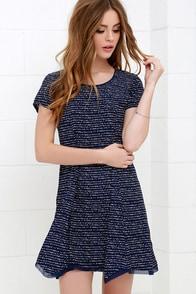 Olive & Oak Train Times Navy Blue Print Swing Dress