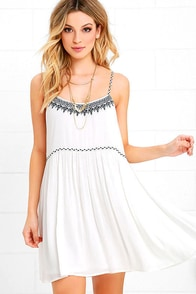 image Sweetie Pie Navy Blue and Ivory Embroidered Swing Dress