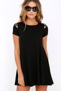 Take Effect Black Swing Dress