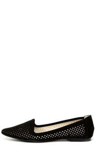 Mia Eleni Black Suede Cutout Loafer Flats