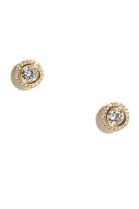 image True Myth Gold Rhinestone Earrings