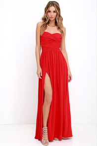 Moonlight Serenade Red Strapless Maxi Dress