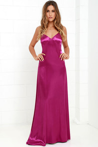 Sleek of Success Magenta Satin Maxi Dress