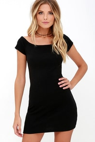 Sing Me A Sonnet Black Off-the-Shoulder Bodycon Dress at Lulus.com!