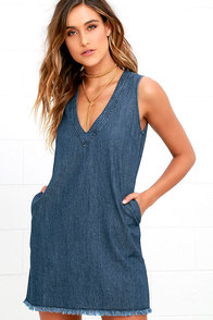 Chic All Day Blue Chambray Shift Dress