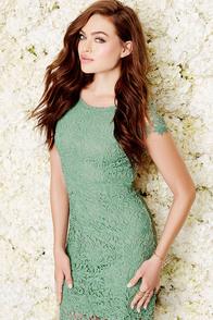 Hidden Talent Backless Sage Green Lace Dress