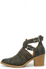 Grand Plateau Grey Strappy Ankle Boots