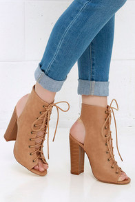 image Hold Fast Beige Lace-Up Booties