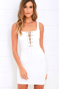 image Quite Curious Ivory Lace-Up Dress