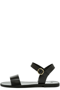 Steve Madden Donddi Black Leather Flat Sandals Image
