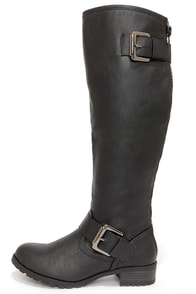 Soda Runic Black Buckled Riding Boots at Lulus.com!