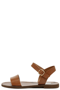 Steve Madden Donddi Tan Leather Flat Sandals Image