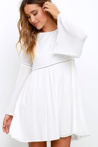 image Sight to Behold Ivory Embroidered Long Sleeve Dress