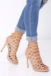 Impact the Outcome Nude Caged Heels at Lulus.com!