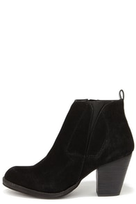 Chelsea Crew Halo Black Suede Ankle Boots at Lulus.com!