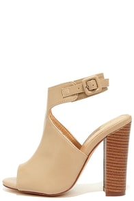 image Somehow Someway Beige Peep-Toe Booties