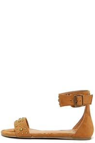 Dot Couture Cognac Suede Studded Flat Ankle Strap Sandals