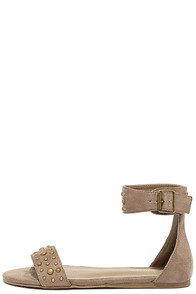 Dot Couture Taupe Suede Studded Flat Ankle Strap Sandals at Lulus.com!