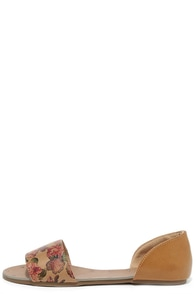 Image Atlantic Seaboard Camel Floral Peep Toe Flats