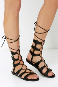 World Away Black Lace-Up Gladiator Sandals at Lulus.com!