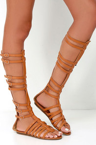 Journey to Atlantis Camel Tall Gladiator Sandals at Lulus.com!