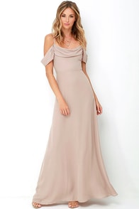 image Reflective Radiance Taupe Maxi Dress
