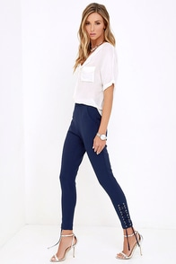 Rearview Mirror Navy Blue Lace-Up Trouser Pants at Lulus.com!