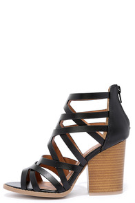 Hear the News Black Caged Heels