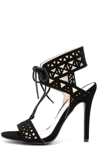 Intricate Intentions Black Cutout Lace-Up Heels
