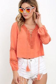 image By My Oceanside Coral Lace-Up Top