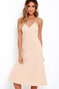 On Broadway Beige Midi Dress