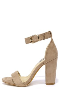 Formal Opinion Taupe Suede Ankle Strap Heels Image