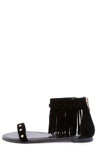 Capriole Black Fringe Ankle Strap Sandals at Lulus.com!