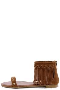 Capriole Chestnut Brown Fringe Ankle Strap Sandals