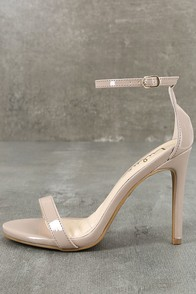 Loveliness Nude Patent Ankle Strap Heels at Lulus.com!