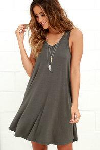The Breezy Charcoal Grey Swing Dress