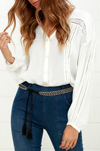Chain Your Tune Gold and Black Tassel Belt