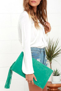 Saloon-er or Later Suede Sea Green Clutch