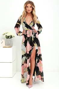 Wondrous Water Lilies Black Floral Print Maxi Dress