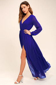 Wondrous Water Lilies Royal Blue Maxi Dress