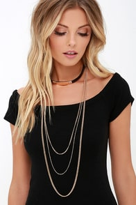 image Current Aesthetic Black and Gold Necklace Set