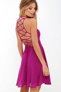 Good Deeds Magenta Lace-Up Dress