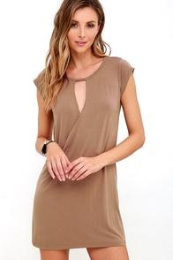 Fluidity Brown Wrap Dress