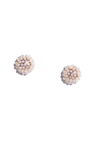 image Kiss the Pearl Gold and Pink Rhinestone Earrings