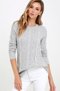 Log Cabin Grey Cable Knit Sweater